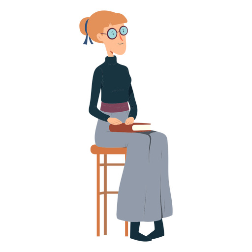 Mujer polo cuello falda libro gafas silla plana Transparent PNG
