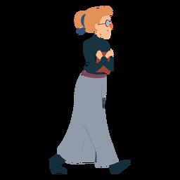 Mujer polo cuello falda gafas libro plano