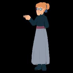 Mujer polo cuello falda gafas gesto plano