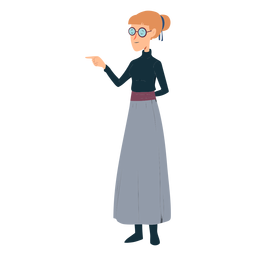 Woman polo neck skirt glasses gesture flat
