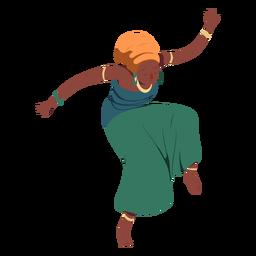 Postura mujer peinado top falda joyas plana