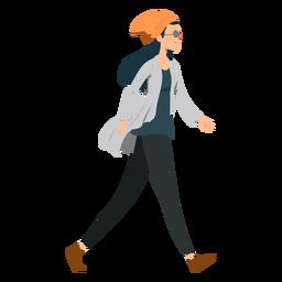 Mujer caminando hipster gafas sombrero chaqueta plana