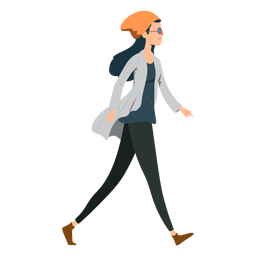 Woman walking hipster glasses hat jacket flat