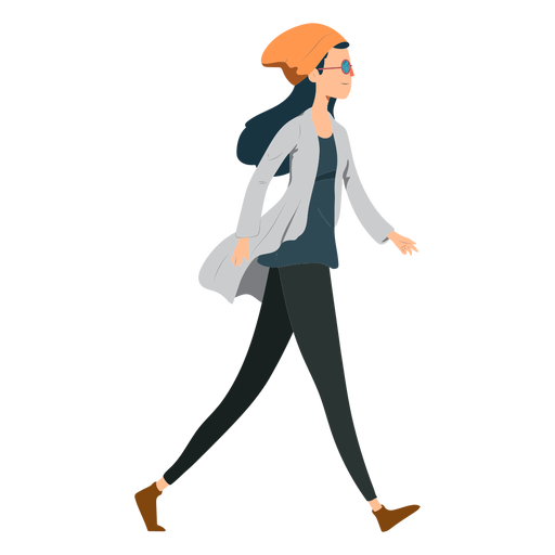 Mulher andando hipster óculos chapéu casaco liso Transparent PNG
