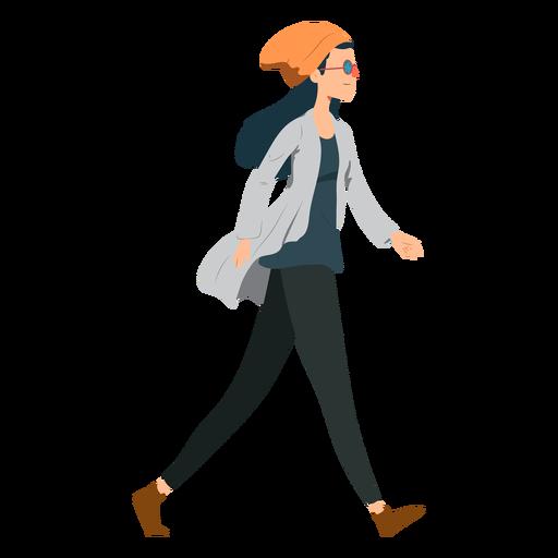 Woman walking hipster glasses hat jacket flat Transparent PNG