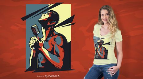 Diseño de camiseta de cantante de rock