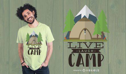 Diseño de camiseta Live Laugh Camp