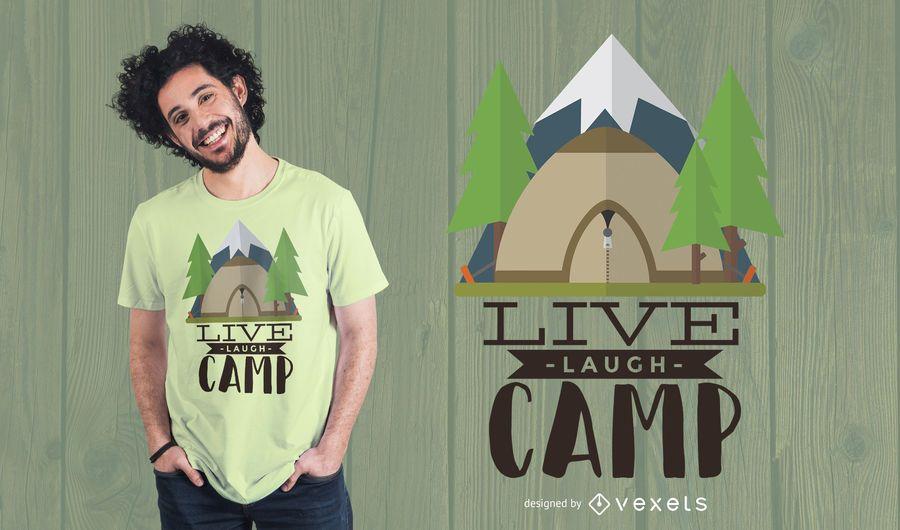Diseño de camiseta Live Laugh Camp