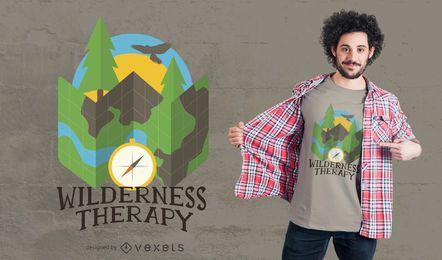 Projeto de acampamento do t-shirt da região selvagem