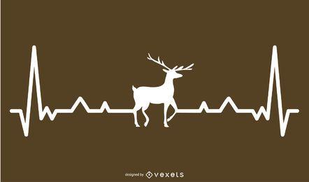 Cervos, com, batida coração, linha, desenho