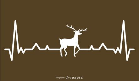 Deer with Heartbeat Line Design