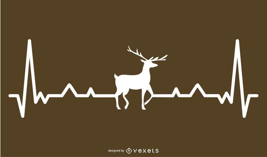 Deer with Heartbeat Line Design