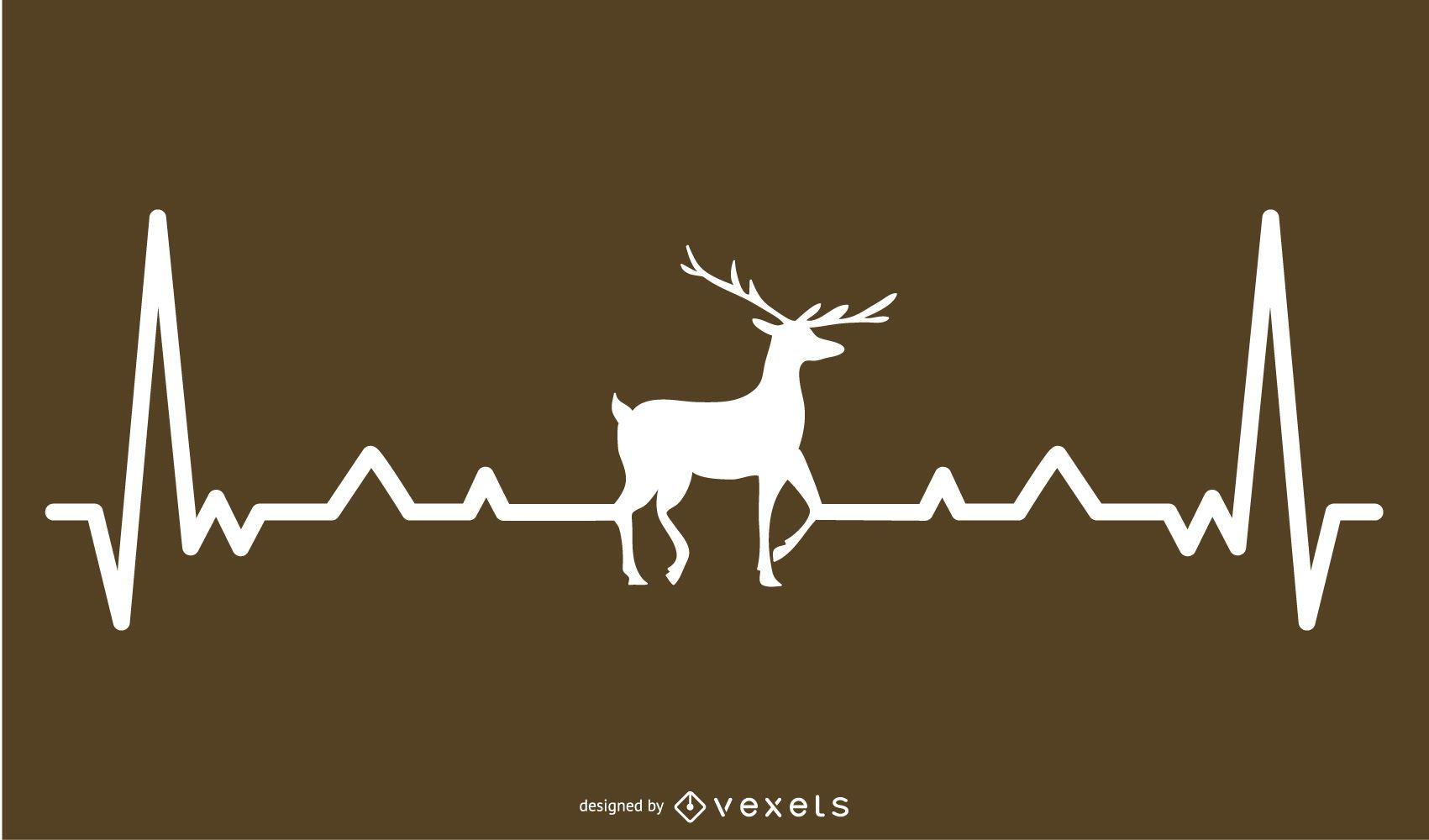 Ciervo con diseño de línea de latido del corazón