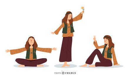 Conjunto de ilustración de hombre hippie