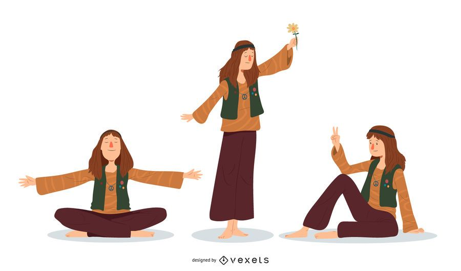 Conjunto de ilustração de homem hippie
