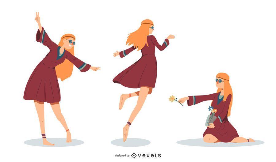 Conjunto de ilustração de mulher hippie