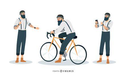 Hipster Man Abbildung Set