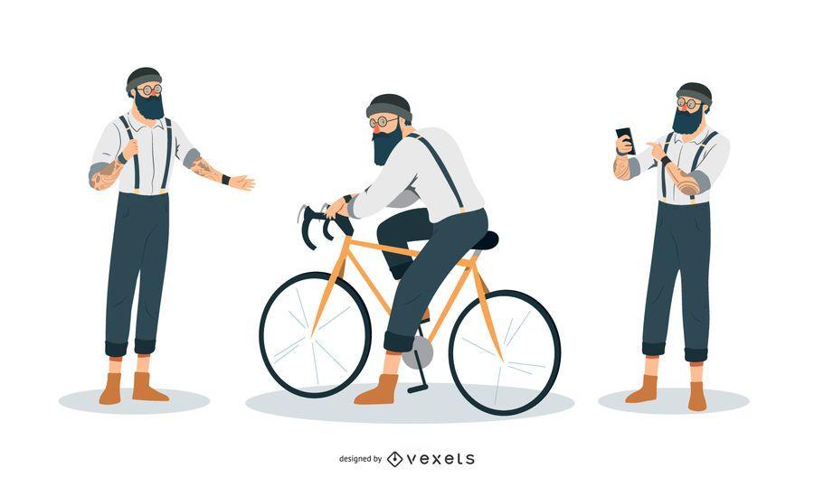 Hipster Man Illustration Set