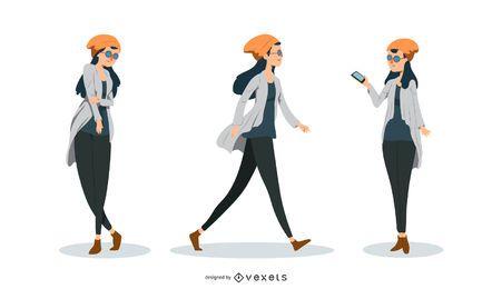 Conjunto de vetores de mulher hipster