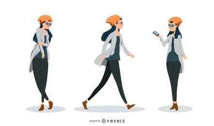 Hipster Woman Vector Set