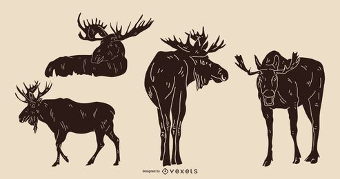 Moose Silhouette with Detail Set