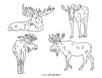 Conjunto de ilustración de trazo de alce