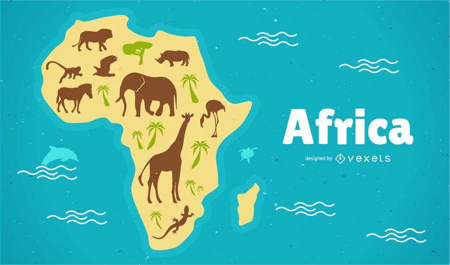 Ilustración de mapa de África