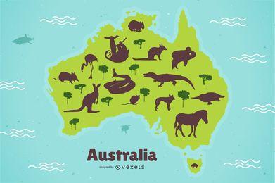 Ilustración de mapa de animales de Australia