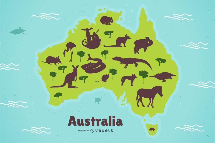 Ilustração de mapa de animais da Austrália