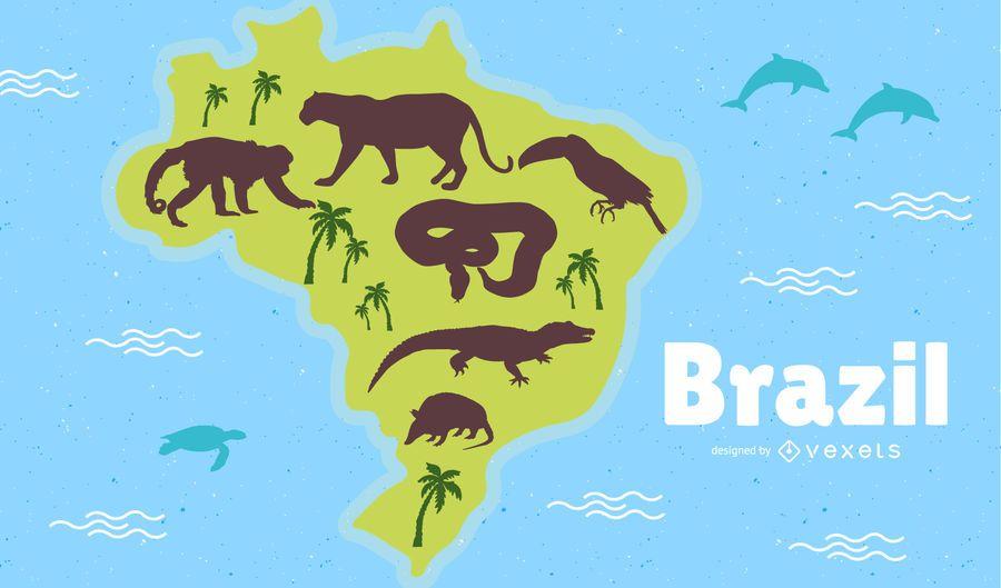Ilustración del mapa de Brasil