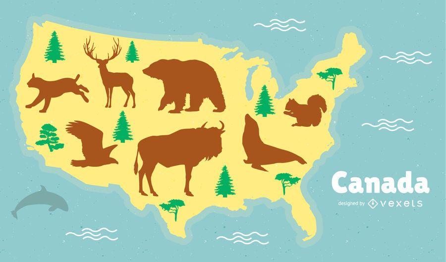Ilustração de mapa de animais canadenses