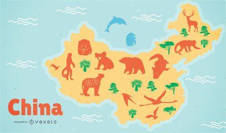 Ilustración del mapa de China