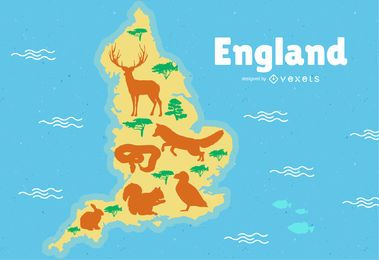 England Map Illustration