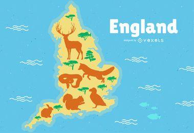 Ilustração do mapa de Inglaterra