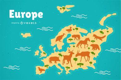 Ilustração do mapa da Europa