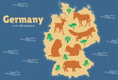 Ilustração de mapa de animais da Alemanha