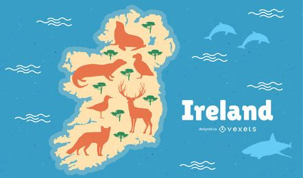 Ireland with Animals Map Illustration