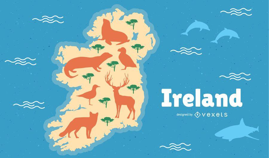 Ireland with Animals Map Illustration