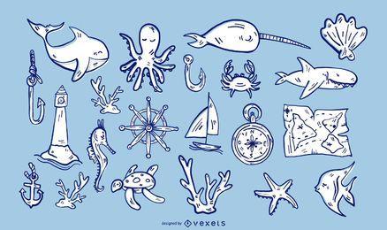 Conjunto de ilustração de elementos náuticos