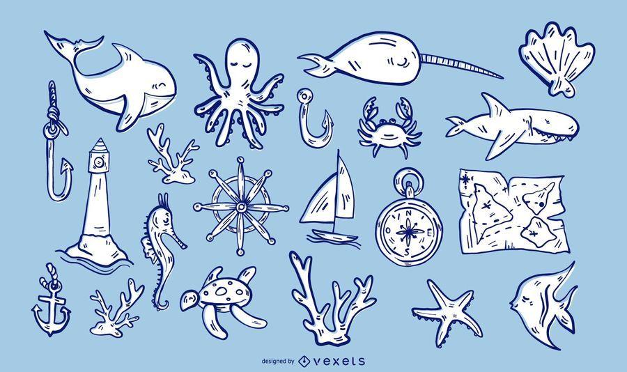 Conjunto de ilustración de elementos náuticos
