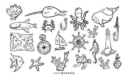 Conjunto de traçado de elementos náuticos