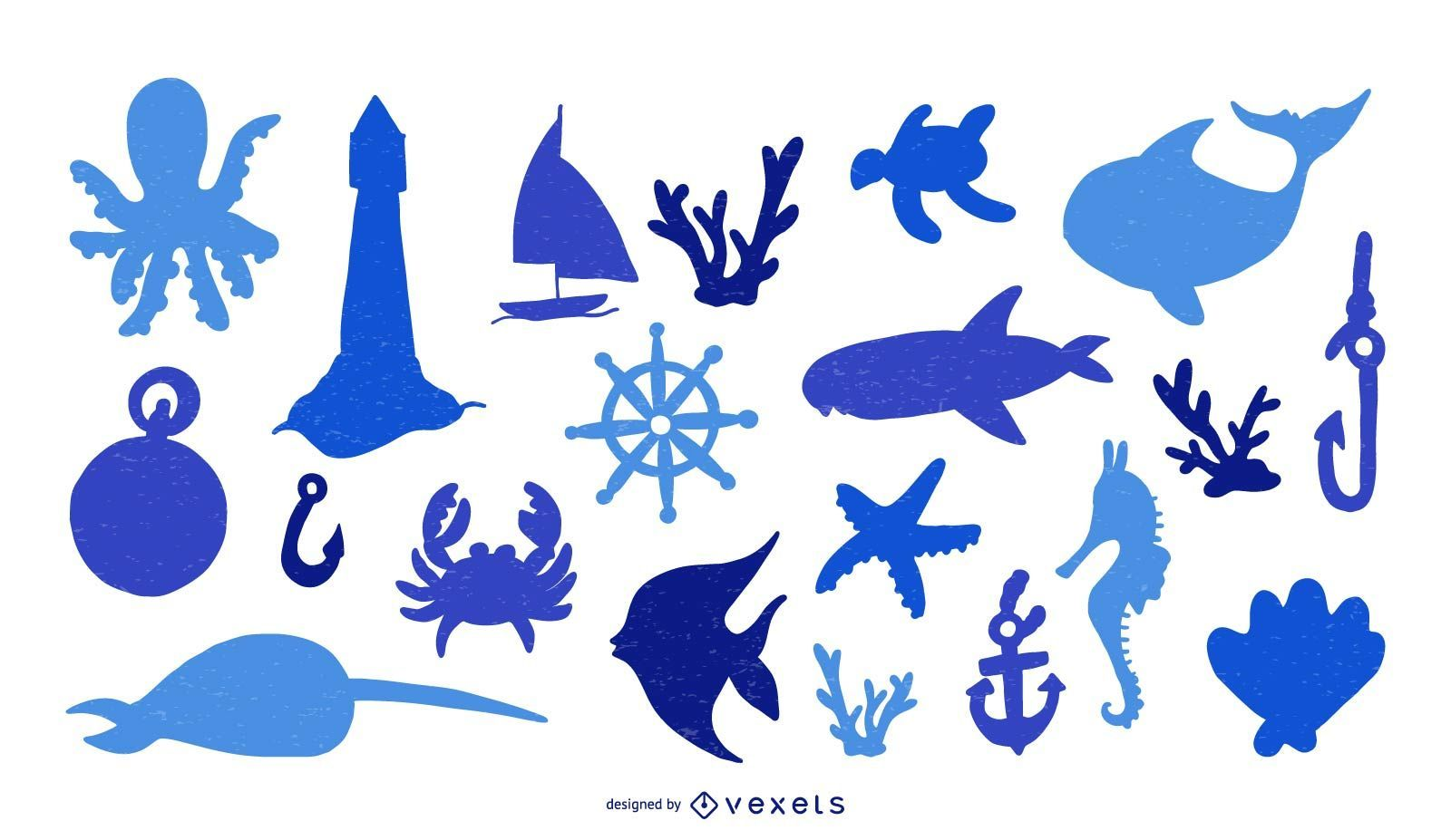 Nautical Elements Silhouette Set