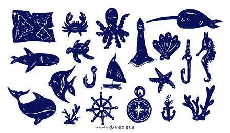 Conjunto de silhueta detalhada náutica