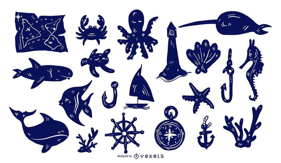 Conjunto de silueta detallada náutica