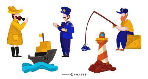 Conjunto de ilustração de personagens náuticos