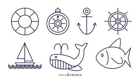 Conjunto de estilo de linha náutica
