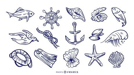 Handgezeichnete See Elemente Set