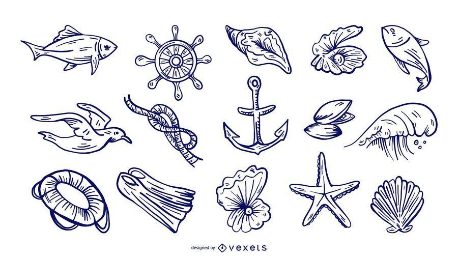 Conjunto de elementos náuticos de mão desenhada