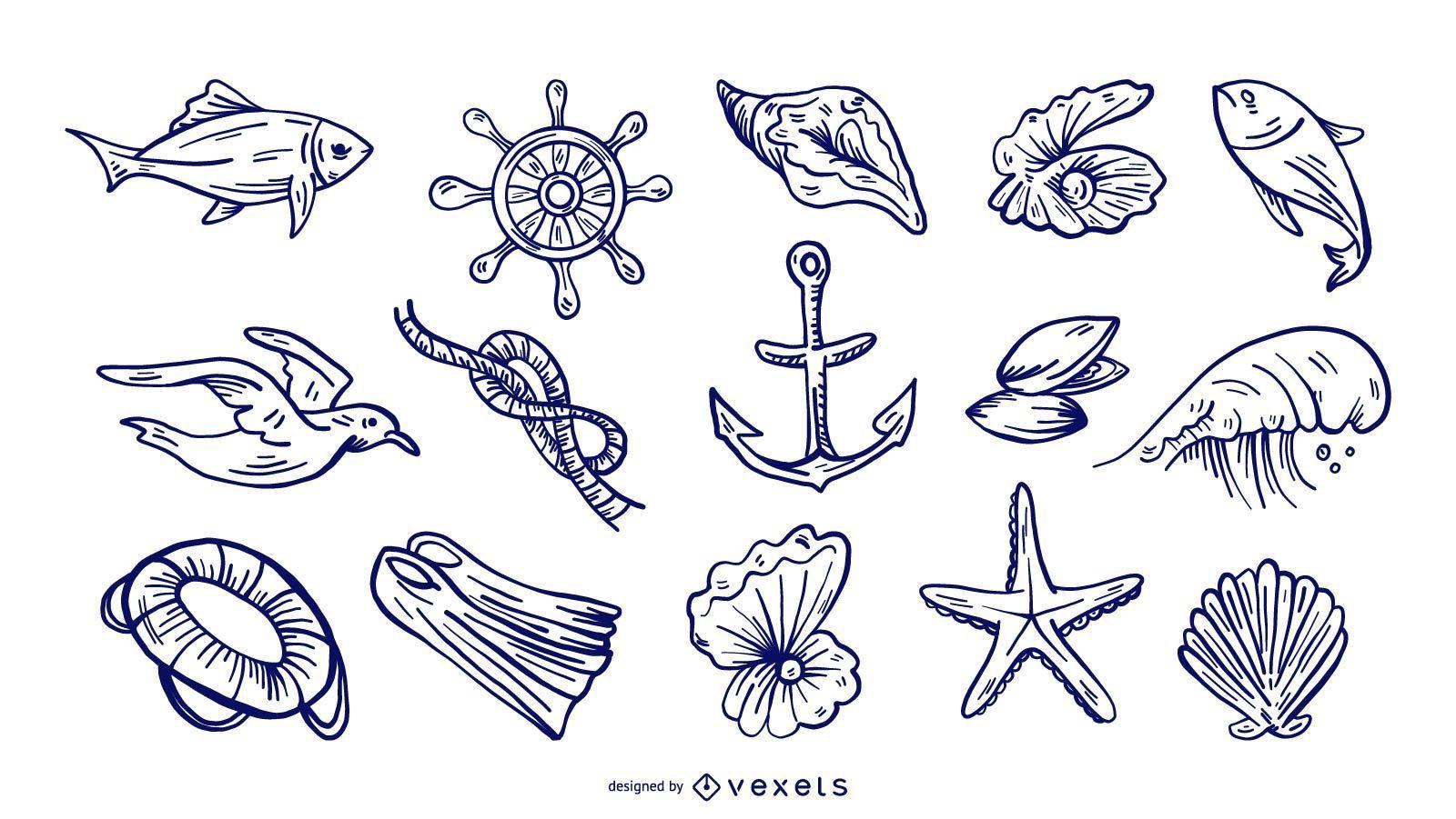 Conjunto de elementos náuticos dibujados a mano