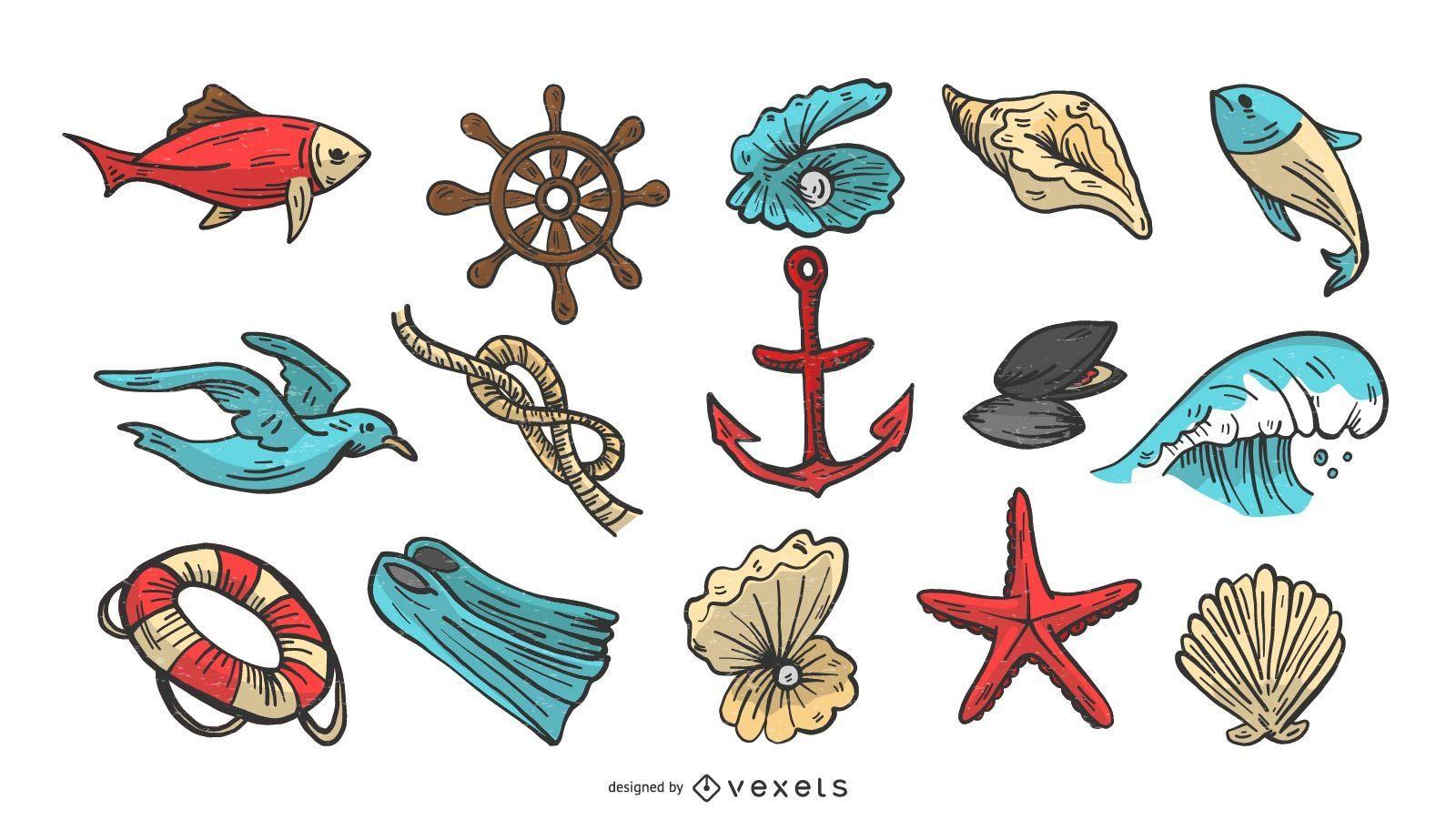 Conjunto de ilustración vectorial náutica